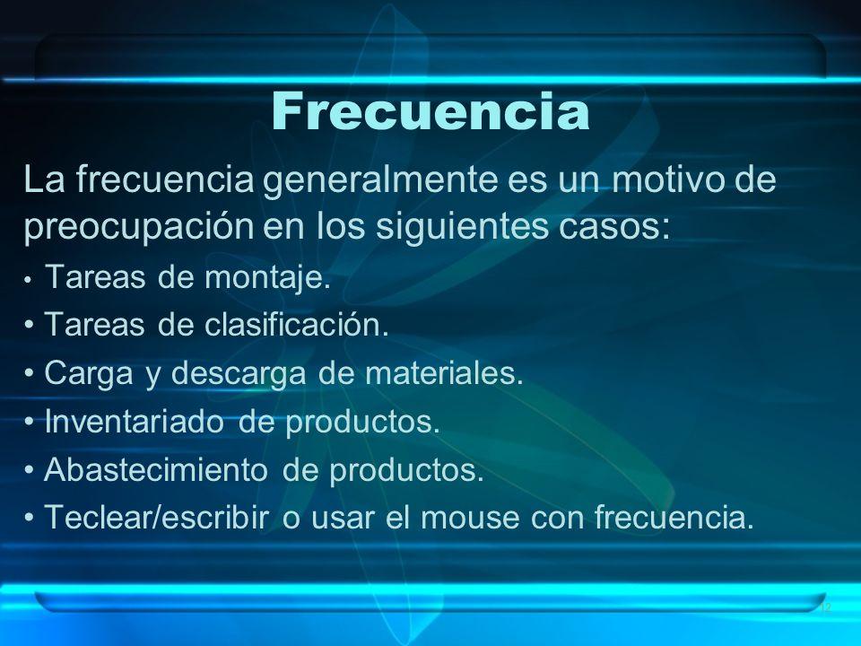 12 Frecuencia La frecuencia generalmente es un motivo de preocupación en los siguientes casos: Tareas de montaje. Tareas de clasificación. Carga y des