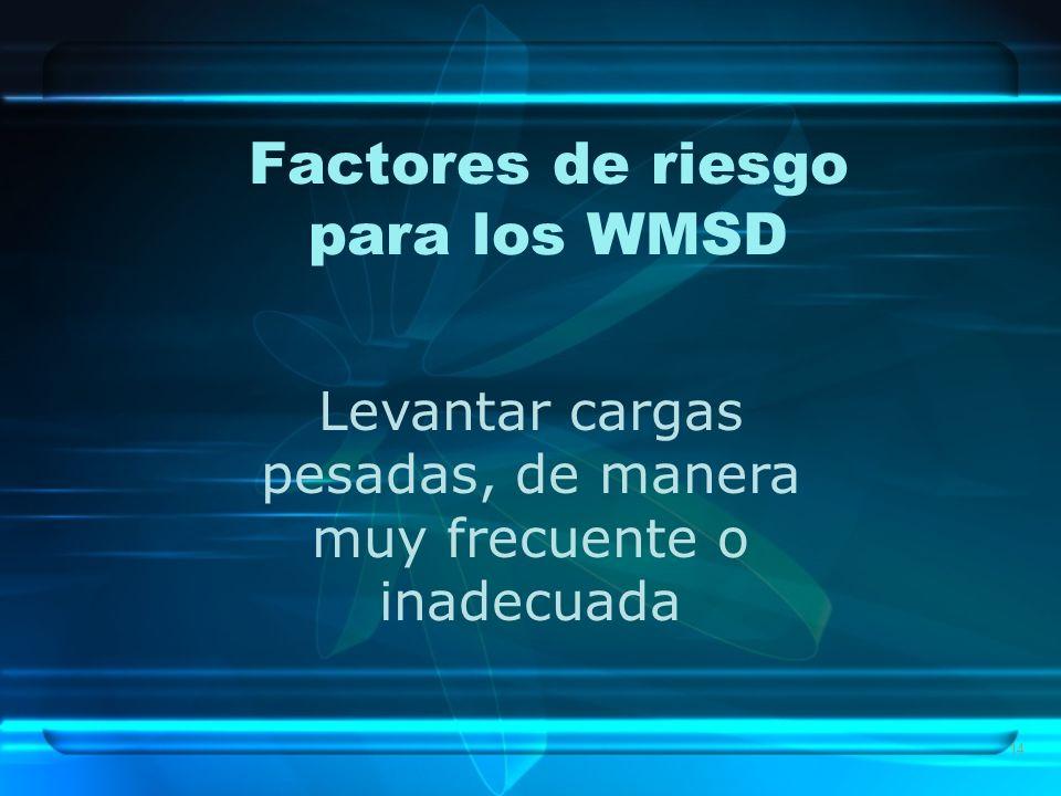 14 Factores de riesgo para los WMSD Levantar cargas pesadas, de manera muy frecuente o inadecuada