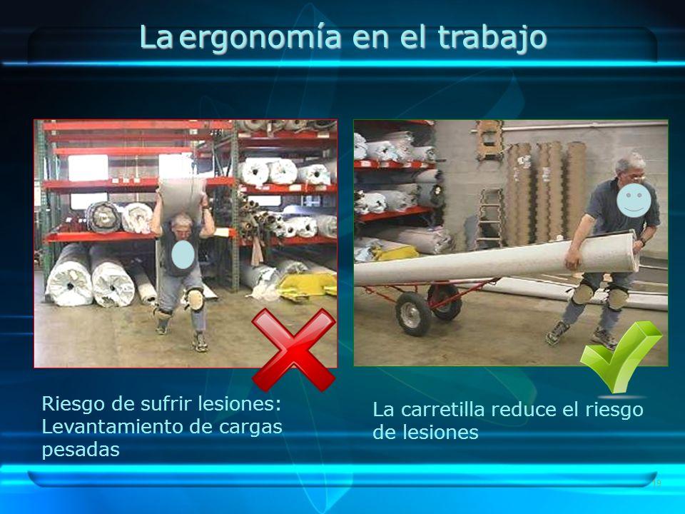 19 Riesgo de sufrir lesiones: Levantamiento de cargas pesadas La carretilla reduce el riesgo de lesiones La ergonomía en el trabajo