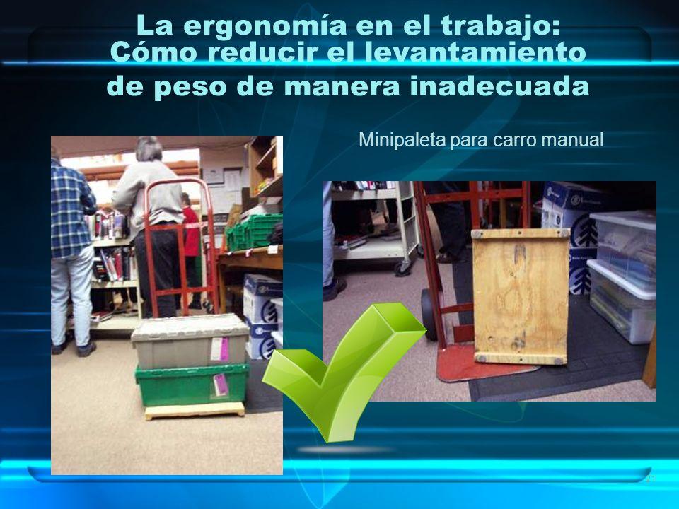 21 La ergonomía en el trabajo: Cómo reducir el levantamiento de peso de manera inadecuada Minipaleta para carro manual