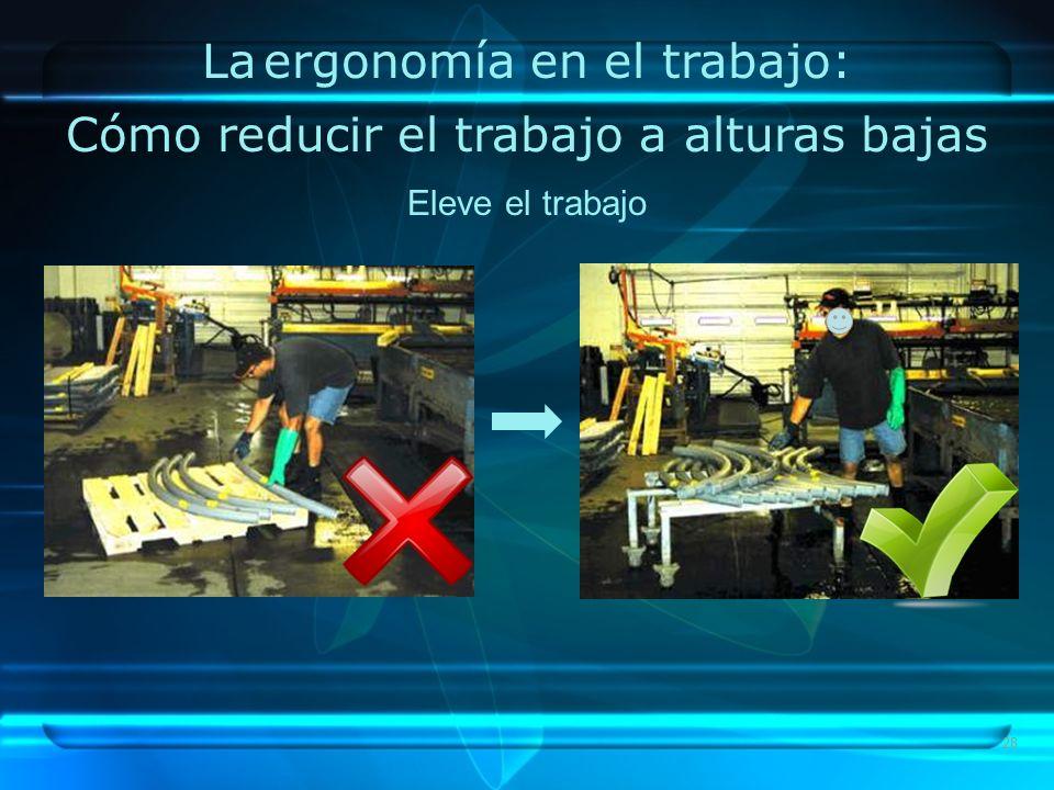 28 La ergonomía en el trabajo: Cómo reducir el trabajo a alturas bajas Eleve el trabajo