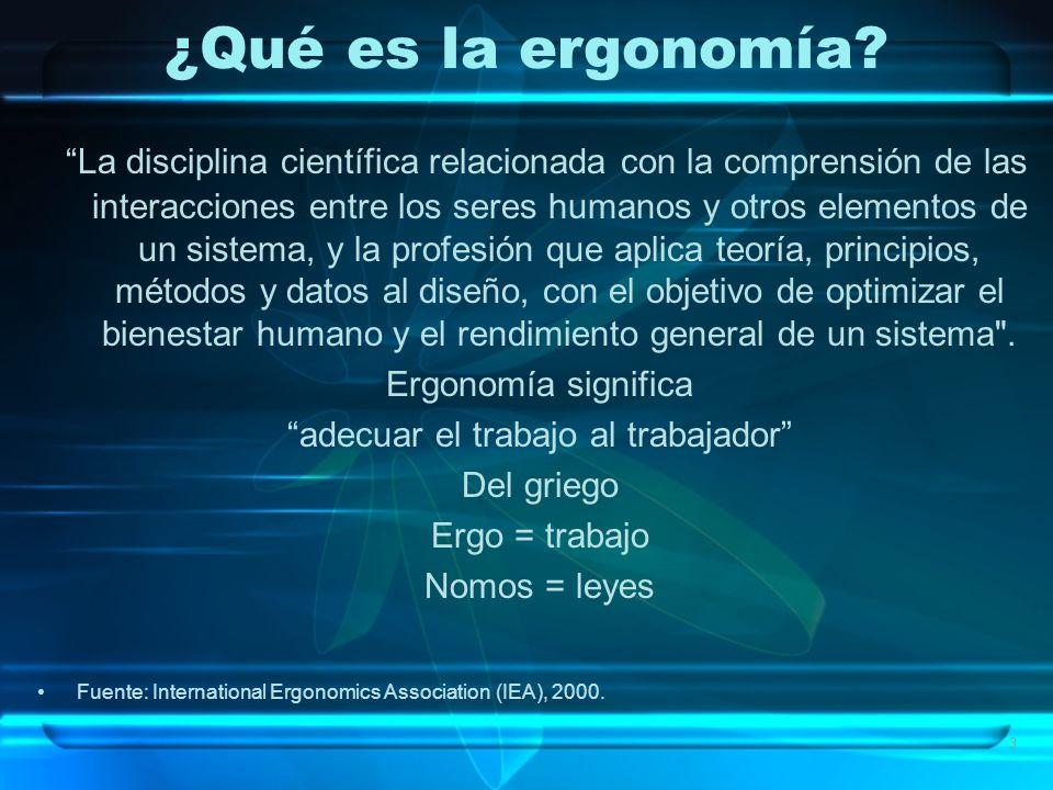 3 ¿Qué es la ergonomía? La disciplina científica relacionada con la comprensión de las interacciones entre los seres humanos y otros elementos de un s