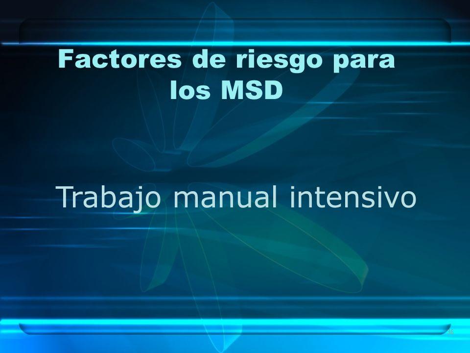 36 Factores de riesgo para los MSD Trabajo manual intensivo