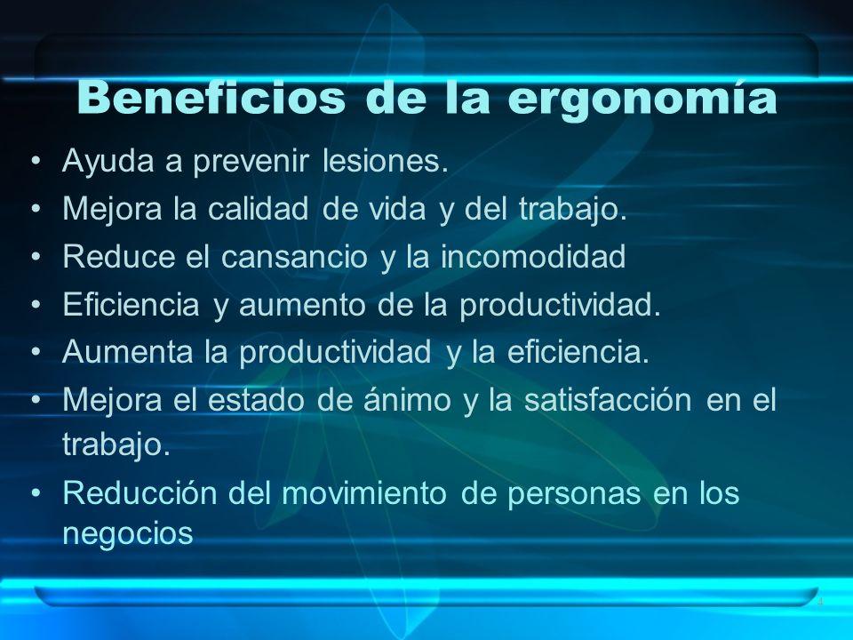 4 Beneficios de la ergonomía Ayuda a prevenir lesiones. Mejora la calidad de vida y del trabajo. Reduce el cansancio y la incomodidad Eficiencia y aum