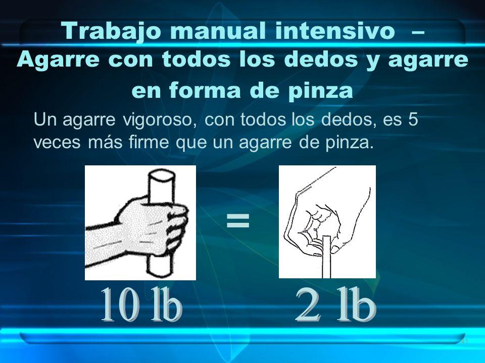 41 Trabajo manual intensivo – Agarre con todos los dedos y agarre en forma de pinza Un agarre vigoroso, con todos los dedos, es 5 veces más firme que un agarre de pinza.