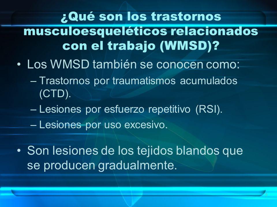 5 ¿Qué son los trastornos musculoesqueléticos relacionados con el trabajo (WMSD)? Los WMSD también se conocen como: –Trastornos por traumatismos acumu