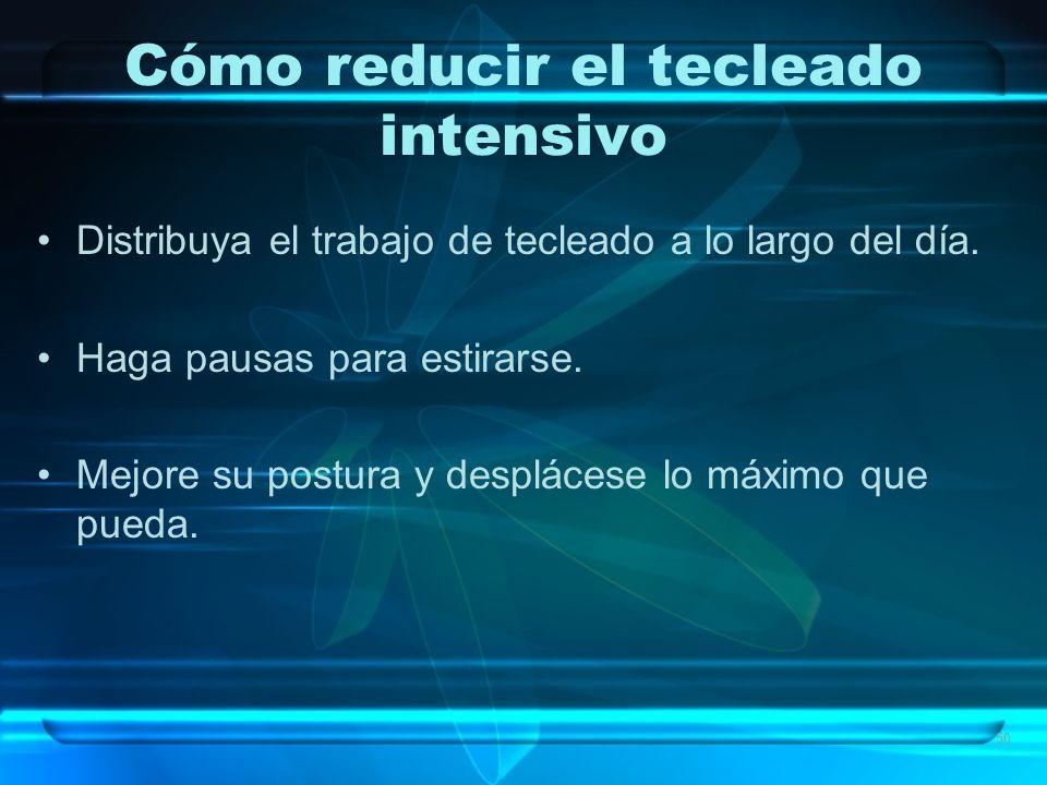 50 Cómo reducir el tecleado intensivo Distribuya el trabajo de tecleado a lo largo del día.