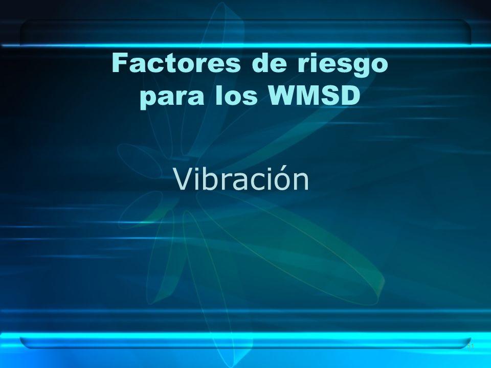 51 Factores de riesgo para los WMSD Vibración