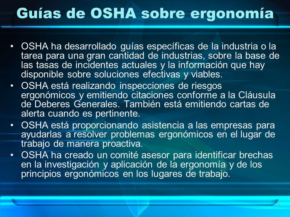 Guías de OSHA sobre ergonomía OSHA ha desarrollado guías específicas de la industria o la tarea para una gran cantidad de industrias, sobre la base de las tasas de incidentes actuales y la información que hay disponible sobre soluciones efectivas y viables.