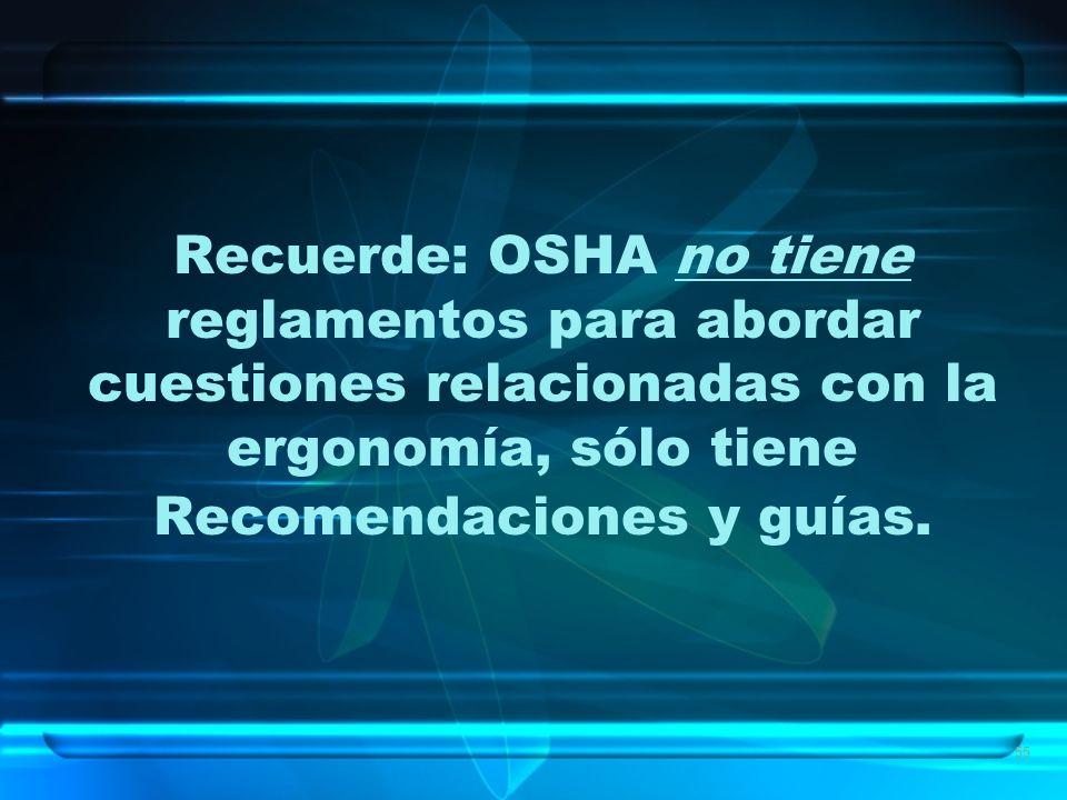 55 Recuerde: OSHA no tiene reglamentos para abordar cuestiones relacionadas con la ergonomía, sólo tiene Recomendaciones y guías.