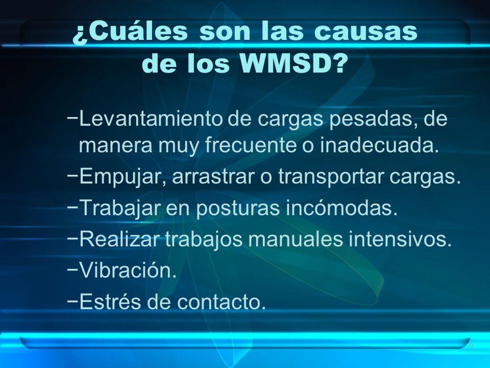 9 ¿Cuáles son las causas de los WMSD? Levantamiento de cargas pesadas, de manera muy frecuente o inadecuada. Empujar, arrastrar o transportar cargas.