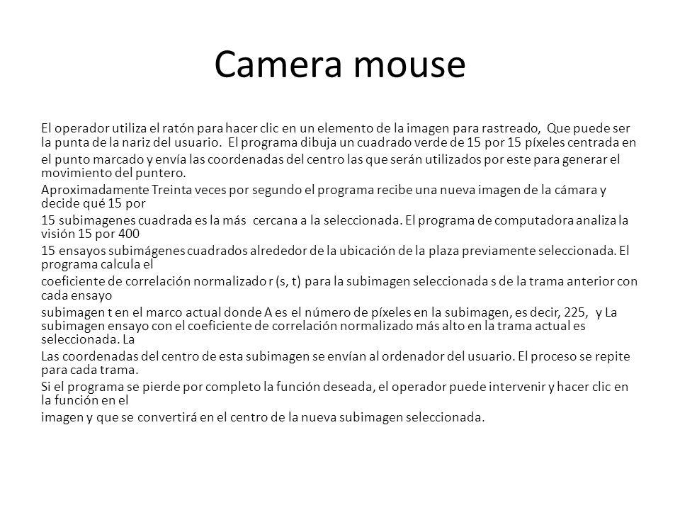 Camera mouse El operador utiliza el ratón para hacer clic en un elemento de la imagen para rastreado, Que puede ser la punta de la nariz del usuario.