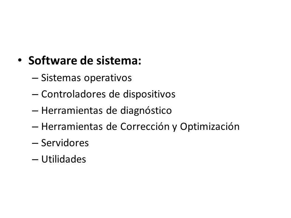 Software de sistema: – Sistemas operativos – Controladores de dispositivos – Herramientas de diagnóstico – Herramientas de Corrección y Optimización –