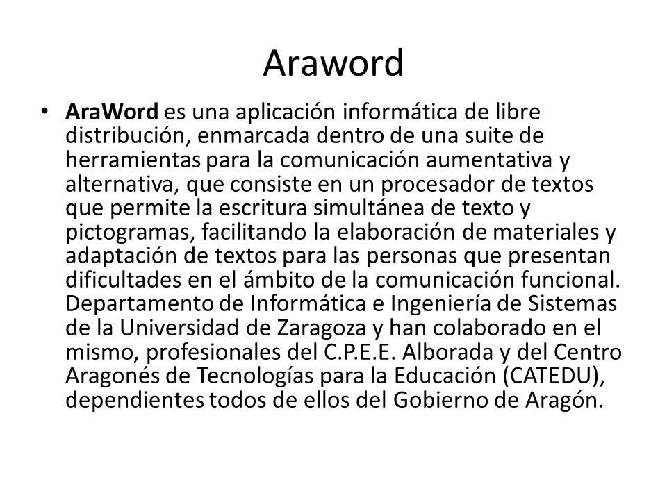 Araword AraWord es una aplicación informática de libre distribución, enmarcada dentro de una suite de herramientas para la comunicación aumentativa y