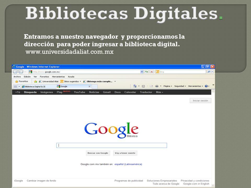 Entramos a nuestro navegador y proporcionamos la dirección para poder ingresar a biblioteca digital.