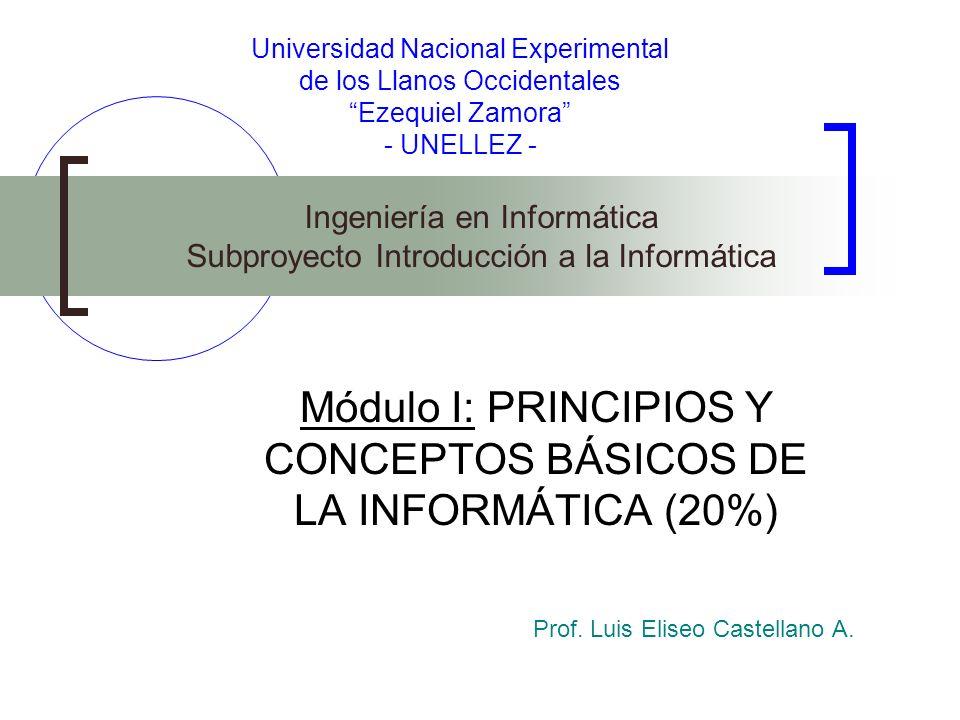 Universidad Nacional Experimental de los Llanos Occidentales Ezequiel Zamora - UNELLEZ - Módulo I: PRINCIPIOS Y CONCEPTOS BÁSICOS DE LA INFORMÁTICA (2