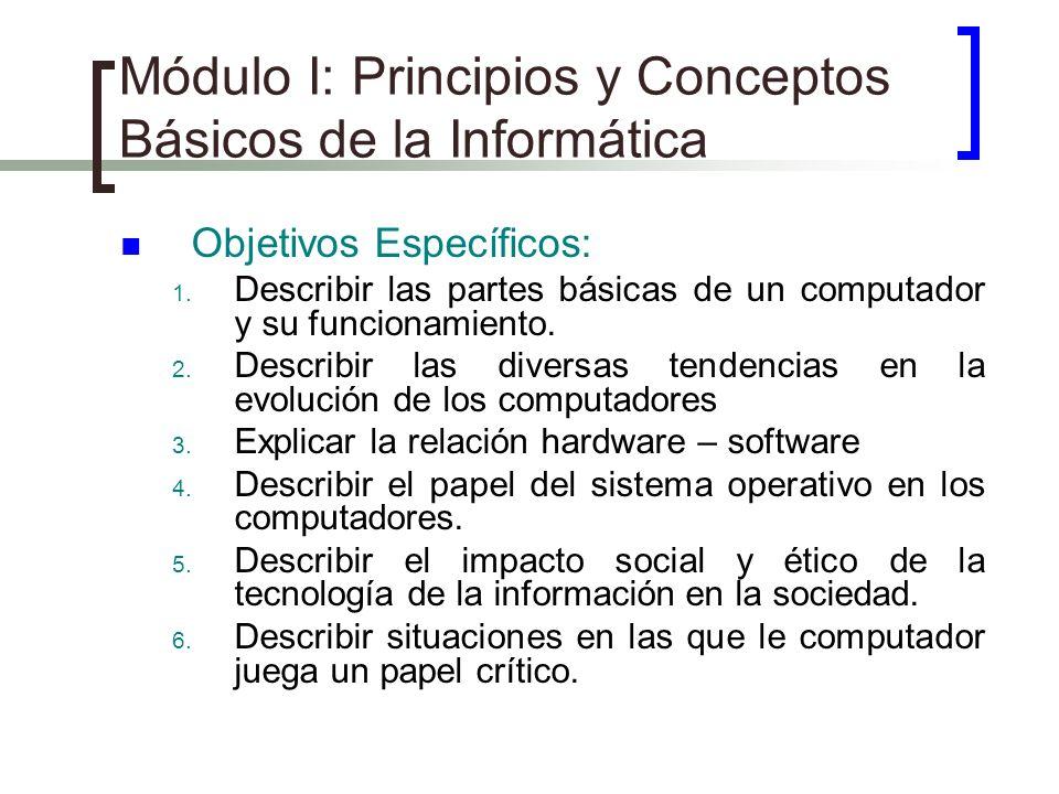 Módulo I: Principios y Conceptos Básicos de la Informática Objetivos Específicos: 1. Describir las partes básicas de un computador y su funcionamiento