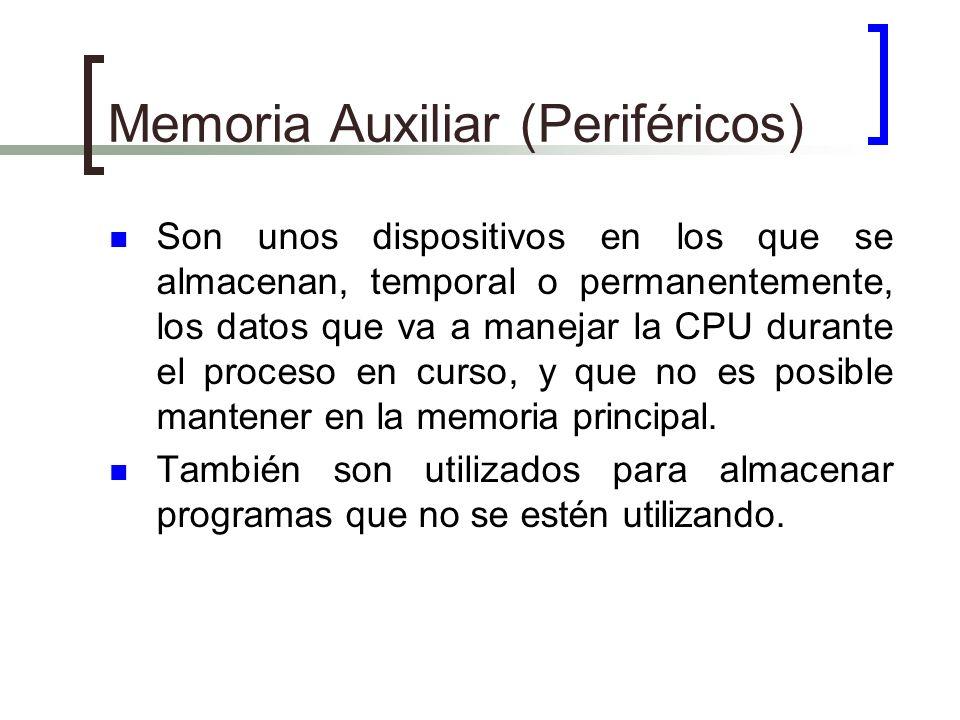 Memoria Auxiliar (Periféricos) Son unos dispositivos en los que se almacenan, temporal o permanentemente, los datos que va a manejar la CPU durante el