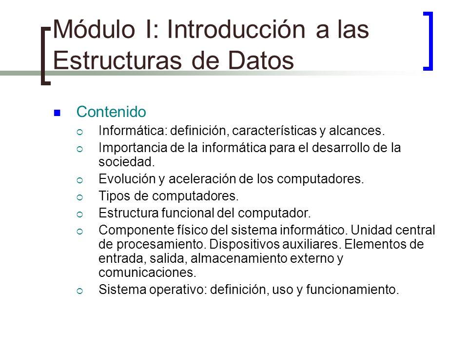 Módulo I: Introducción a las Estructuras de Datos Contenido Informática: definición, características y alcances. Importancia de la informática para el
