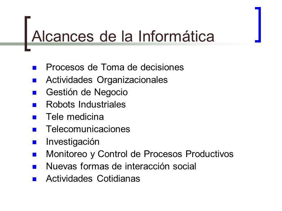 Alcances de la Informática Procesos de Toma de decisiones Actividades Organizacionales Gestión de Negocio Robots Industriales Tele medicina Telecomuni