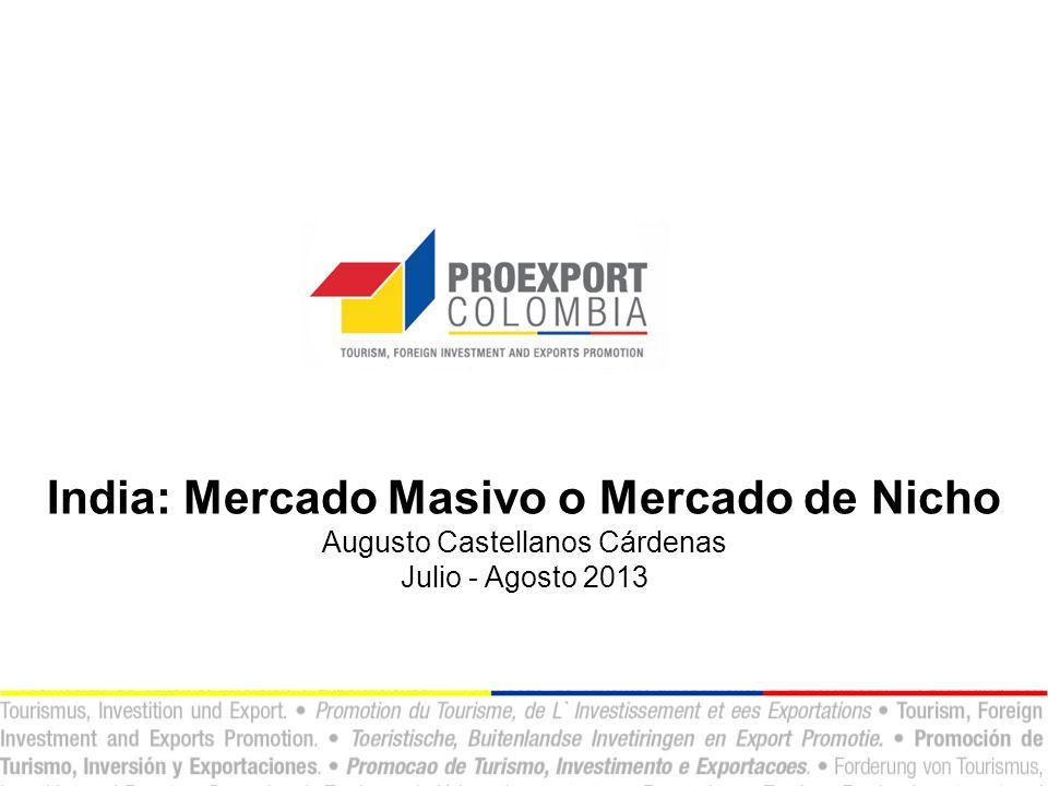 India: Mercado Masivo o Mercado de Nicho Augusto Castellanos Cárdenas Julio - Agosto 2013
