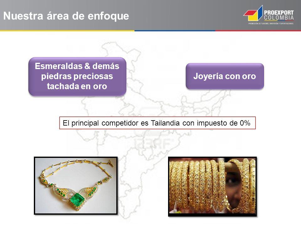 Esmeraldas & demás piedras preciosas tachada en oro Joyería con oro El principal competidor es Tailandia con impuesto de 0% Nuestra área de enfoque