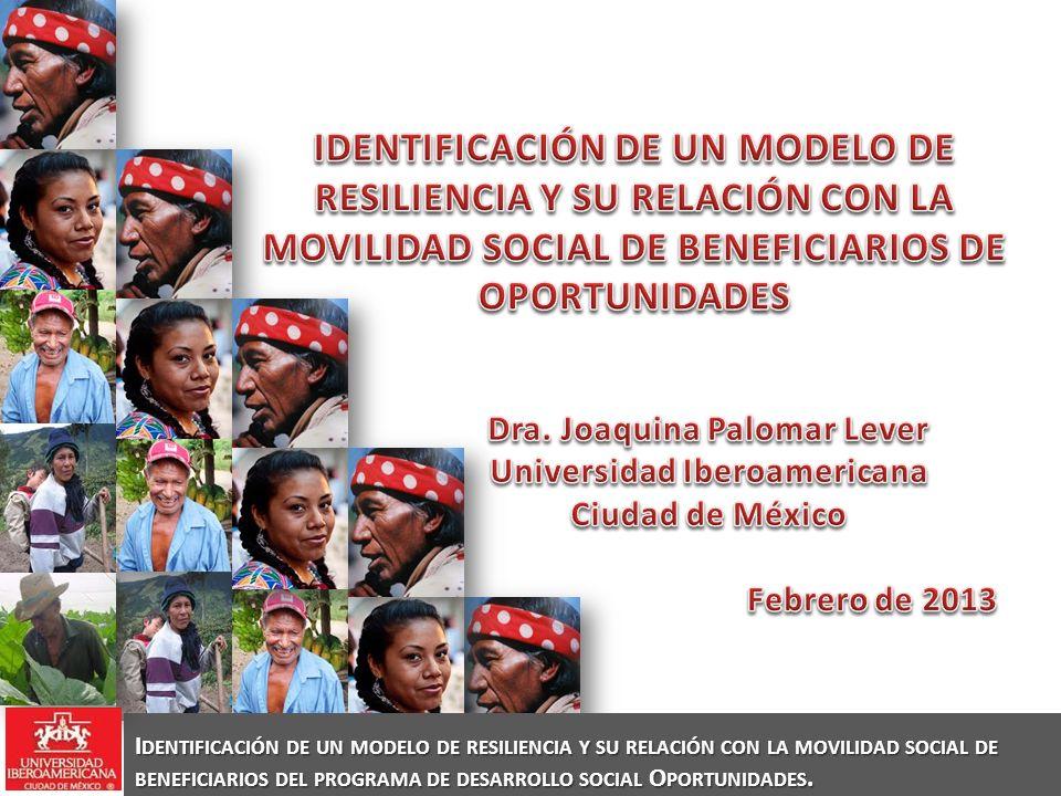 I DENTIFICACIÓN DE UN MODELO DE RESILIENCIA Y SU RELACIÓN CON LA MOVILIDAD SOCIAL DE BENEFICIARIOS DEL PROGRAMA DE DESARROLLO SOCIAL O PORTUNIDADES.