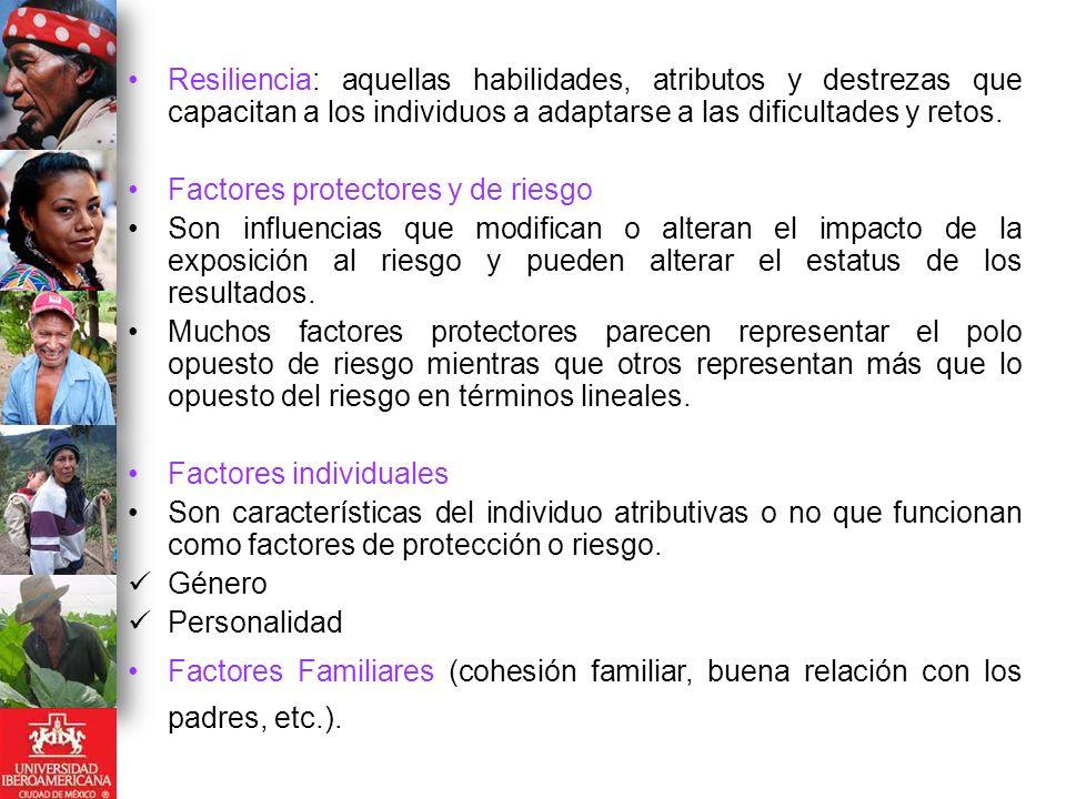 Factores Escolares Calidez en la relación maestro-alumno, habilidades cognitivas, etc.