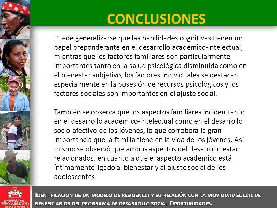 I DENTIFICACIÓN DE UN MODELO DE RESILIENCIA Y SU RELACIÓN CON LA MOVILIDAD SOCIAL DE BENEFICIARIOS DEL PROGRAMA DE DESARROLLO SOCIAL O PORTUNIDADES. C