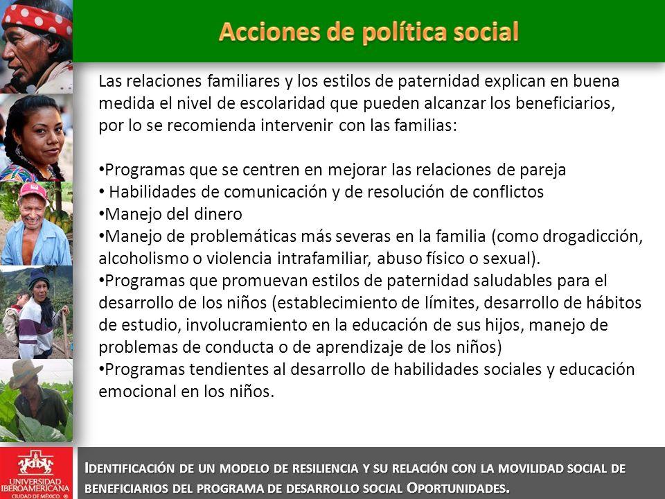 I DENTIFICACIÓN DE UN MODELO DE RESILIENCIA Y SU RELACIÓN CON LA MOVILIDAD SOCIAL DE BENEFICIARIOS DEL PROGRAMA DE DESARROLLO SOCIAL O PORTUNIDADES. L