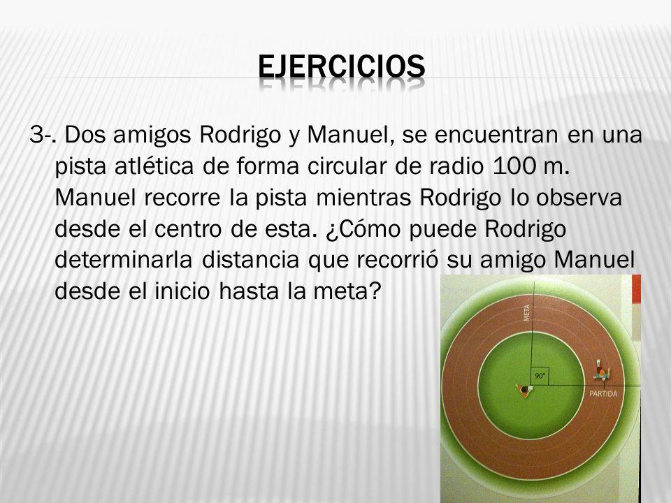 3-. Dos amigos Rodrigo y Manuel, se encuentran en una pista atlética de forma circular de radio 100 m. Manuel recorre la pista mientras Rodrigo lo obs