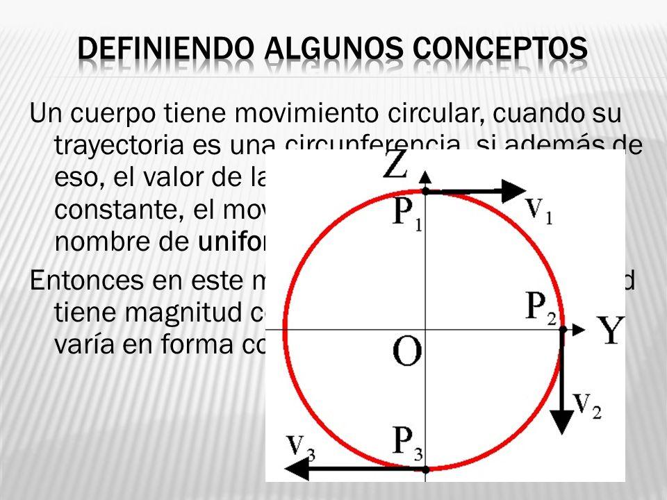 Un cuerpo tiene movimiento circular, cuando su trayectoria es una circunferencia, si además de eso, el valor de la velocidad permanece constante, el m