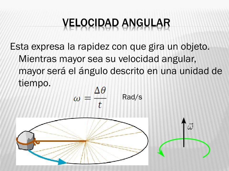 Esta expresa la rapidez con que gira un objeto. Mientras mayor sea su velocidad angular, mayor será el ángulo descrito en una unidad de tiempo. Rad/s