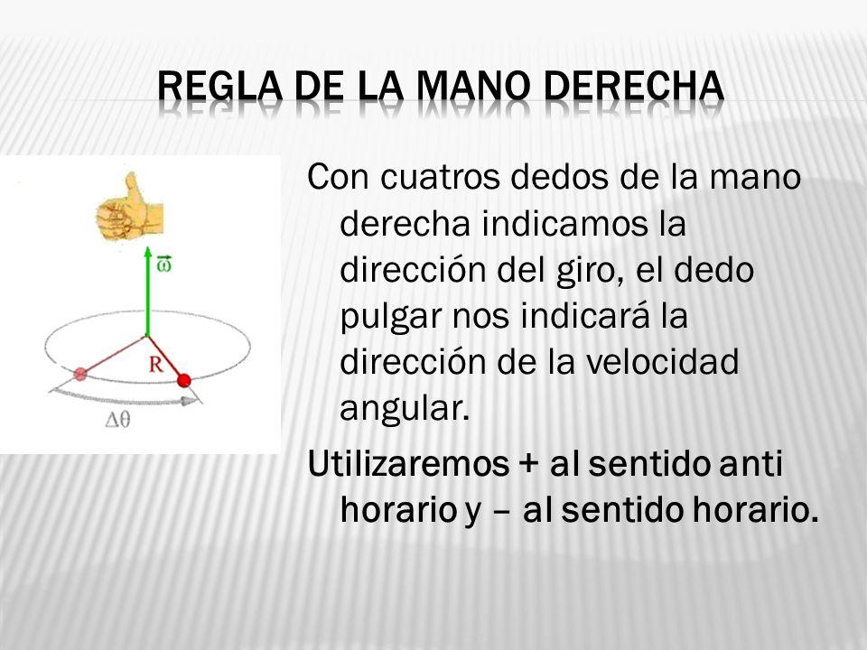 Con cuatros dedos de la mano derecha indicamos la dirección del giro, el dedo pulgar nos indicará la dirección de la velocidad angular. Utilizaremos +