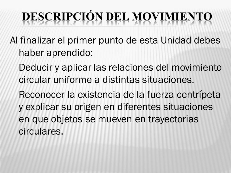 Al finalizar el primer punto de esta Unidad debes haber aprendido: - Deducir y aplicar las relaciones del movimiento circular uniforme a distintas sit