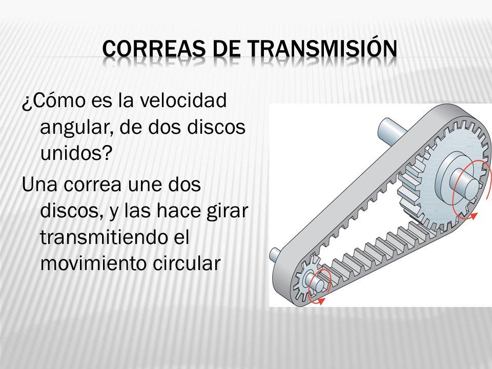 ¿Cómo es la velocidad angular, de dos discos unidos? Una correa une dos discos, y las hace girar transmitiendo el movimiento circular