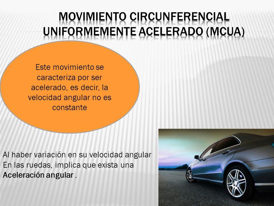 Este movimiento se caracteriza por ser acelerado, es decir, la velocidad angular no es constante Al haber variación en su velocidad angular En las rue