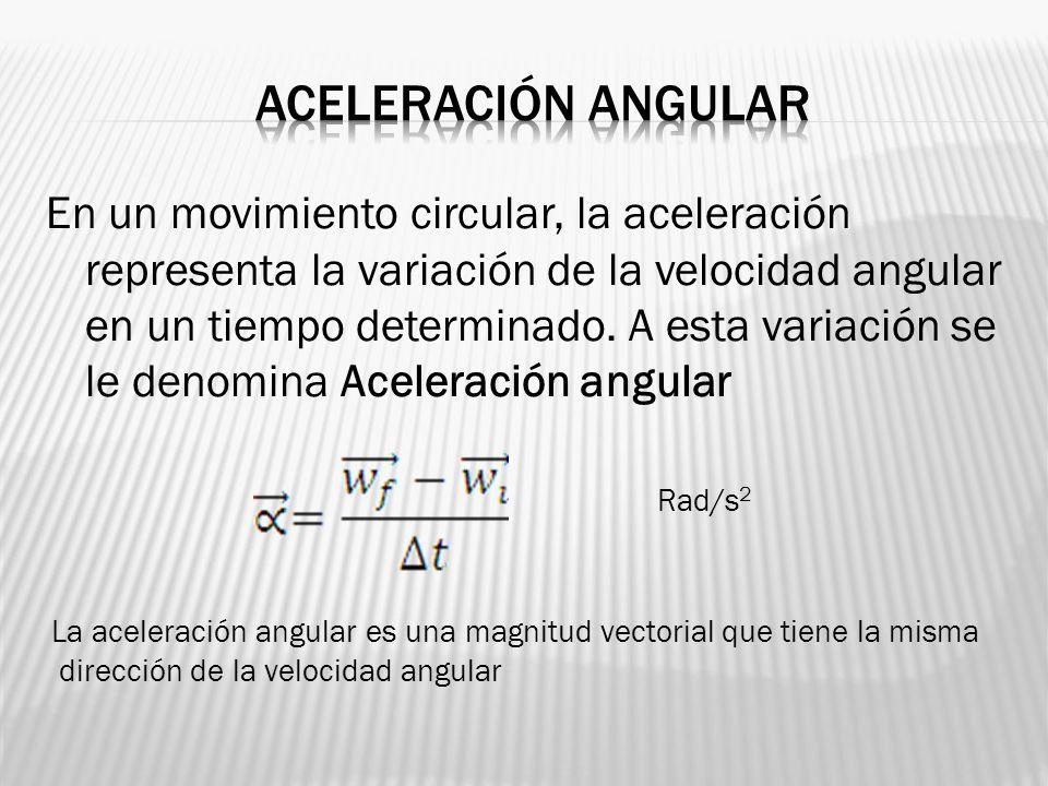 En un movimiento circular, la aceleración representa la variación de la velocidad angular en un tiempo determinado. A esta variación se le denomina Ac
