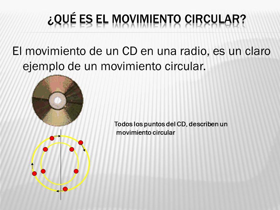 El movimiento de un CD en una radio, es un claro ejemplo de un movimiento circular. Todos los puntos del CD, describen un movimiento circular