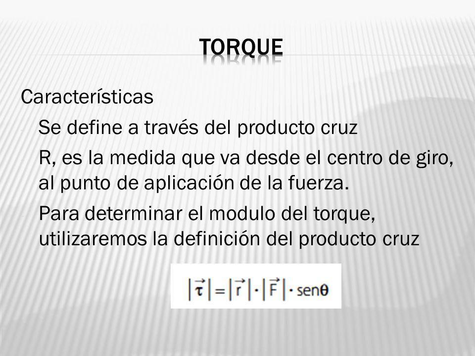 Características - Se define a través del producto cruz - R, es la medida que va desde el centro de giro, al punto de aplicación de la fuerza. - Para d