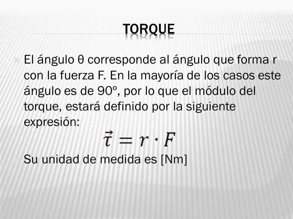 El ángulo θ corresponde al ángulo que forma r con la fuerza F. En la mayoría de los casos este ángulo es de 90º, por lo que el módulo del torque, esta