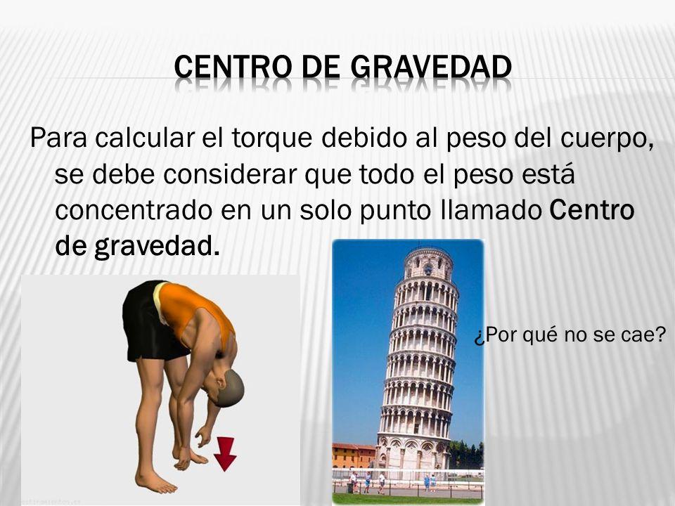 Para calcular el torque debido al peso del cuerpo, se debe considerar que todo el peso está concentrado en un solo punto llamado Centro de gravedad. ¿