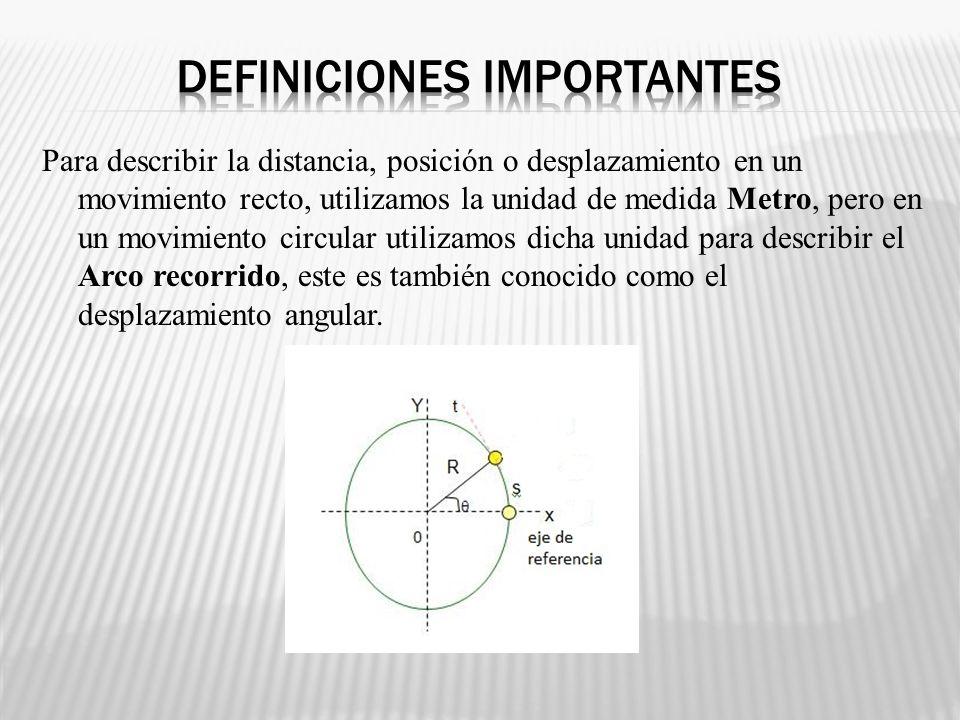 Para describir la distancia, posición o desplazamiento en un movimiento recto, utilizamos la unidad de medida Metro, pero en un movimiento circular ut
