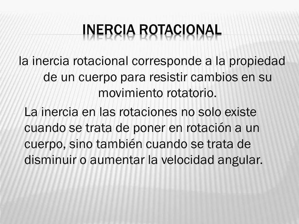 la inercia rotacional corresponde a la propiedad de un cuerpo para resistir cambios en su movimiento rotatorio. - La inercia en las rotaciones no solo