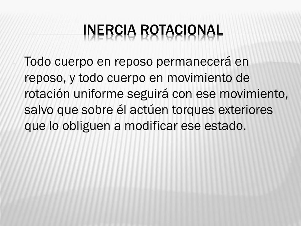- Todo cuerpo en reposo permanecerá en reposo, y todo cuerpo en movimiento de rotación uniforme seguirá con ese movimiento, salvo que sobre él actúen