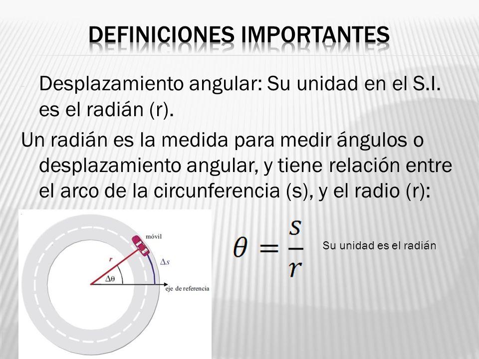 - Desplazamiento angular: Su unidad en el S.I. es el radián (r). Un radián es la medida para medir ángulos o desplazamiento angular, y tiene relación