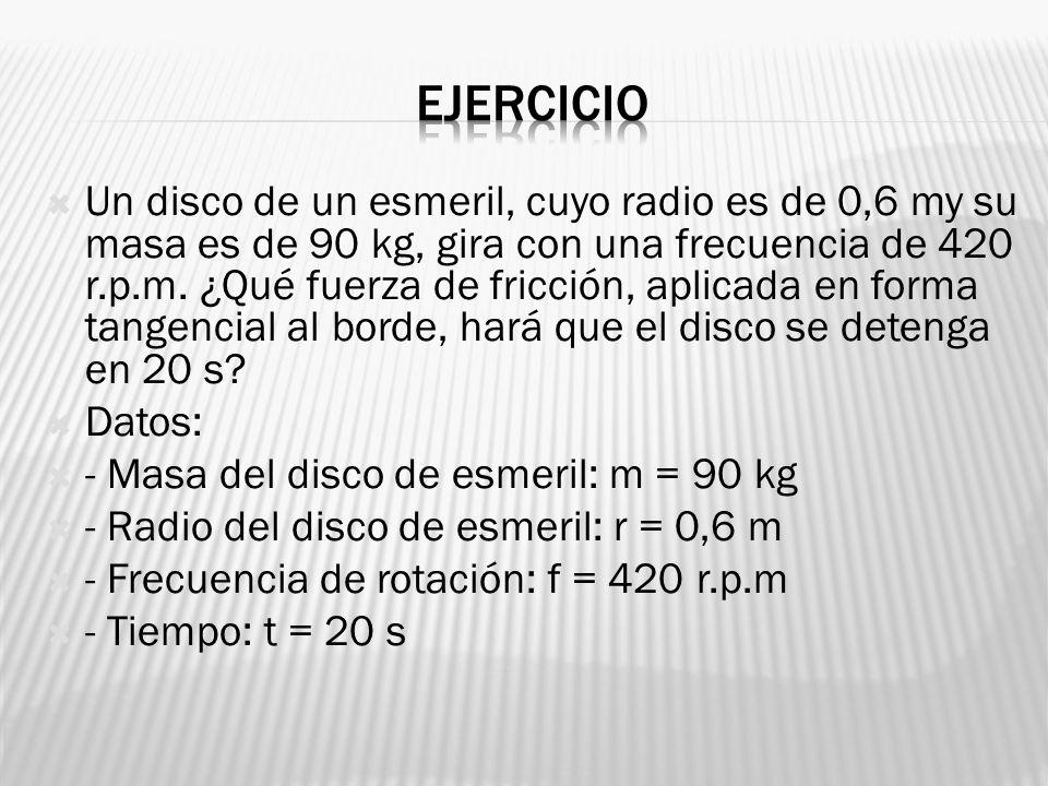 Un disco de un esmeril, cuyo radio es de 0,6 my su masa es de 90 kg, gira con una frecuencia de 420 r.p.m. ¿Qué fuerza de fricción, aplicada en forma