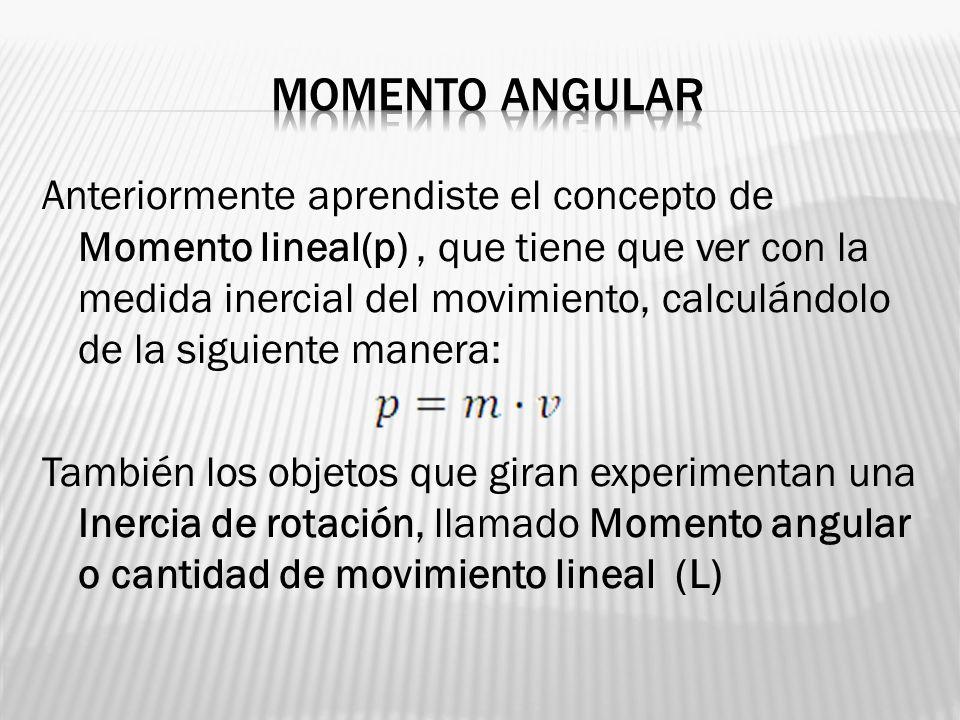 Anteriormente aprendiste el concepto de Momento lineal(p), que tiene que ver con la medida inercial del movimiento, calculándolo de la siguiente maner