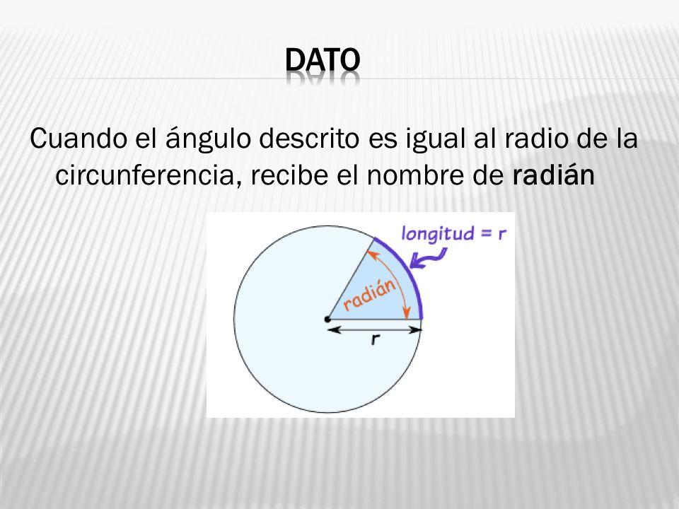 Cuando el ángulo descrito es igual al radio de la circunferencia, recibe el nombre de radián