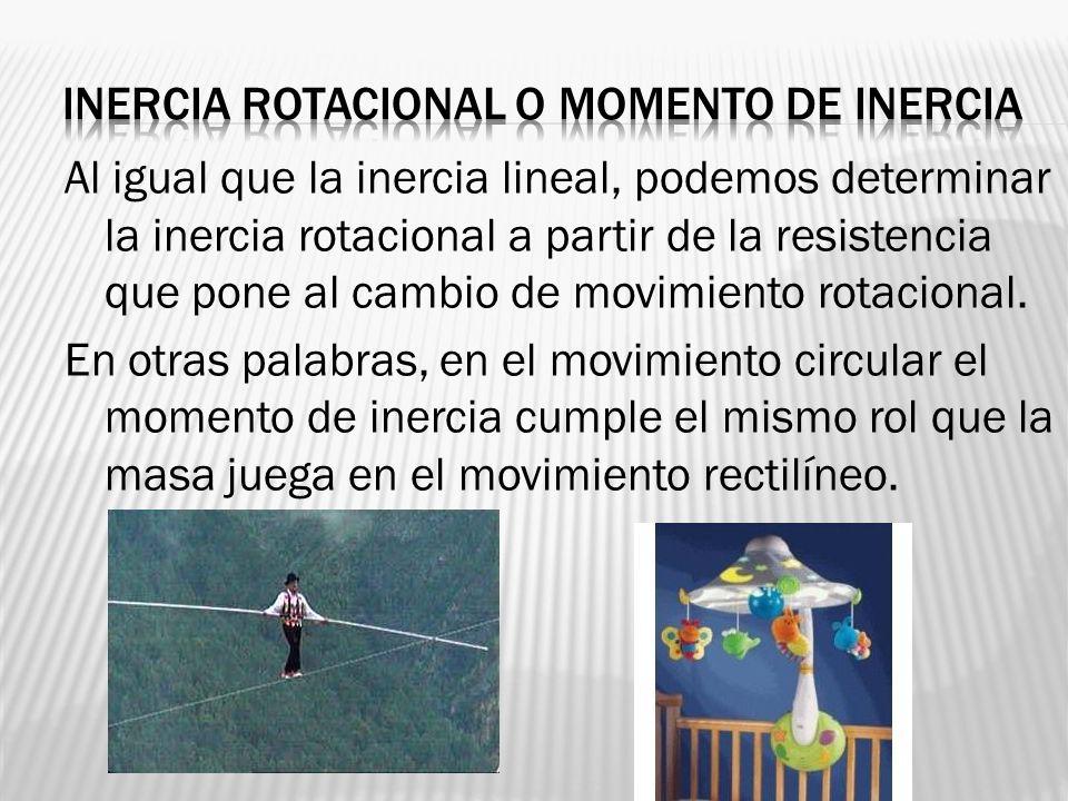 Al igual que la inercia lineal, podemos determinar la inercia rotacional a partir de la resistencia que pone al cambio de movimiento rotacional. En ot
